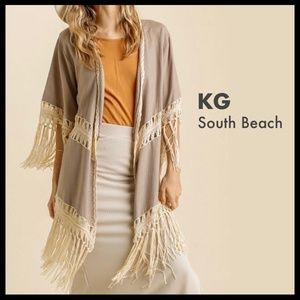 Umgee Crochet Tassel Trimmed Linen-Look Kimono